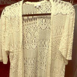 LuLaRoe white lace Lindsay cover up